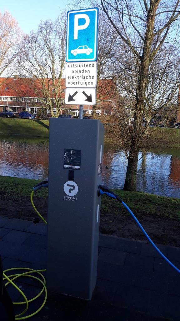 Verkeersbord uitsluitend opladen elektrische auto