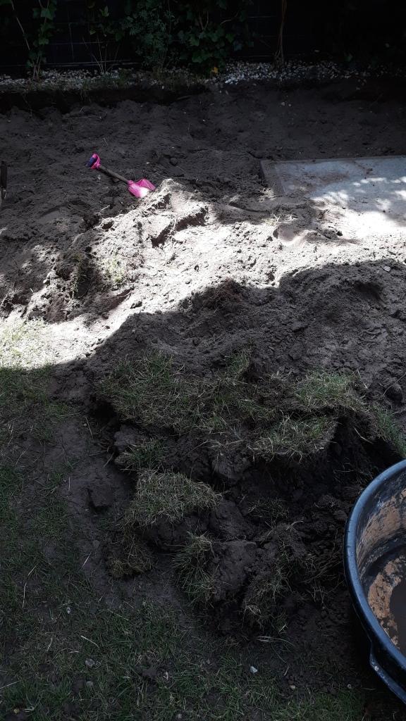 Tuin afgraven, grasmat vervangen